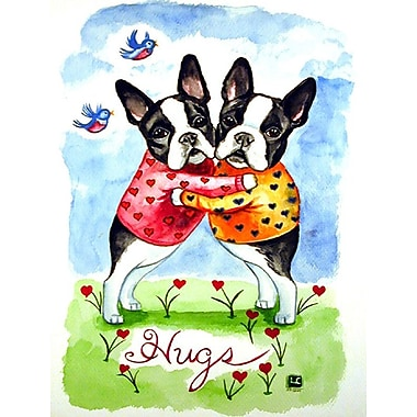 Caroline's Treasures Hugs Boston Terrier 2-Sided Garden Flag
