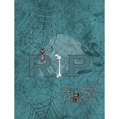 Caroline's Treasures RIP Rest in Peace w/ spider web Halloween 2-Sided Garden Flag