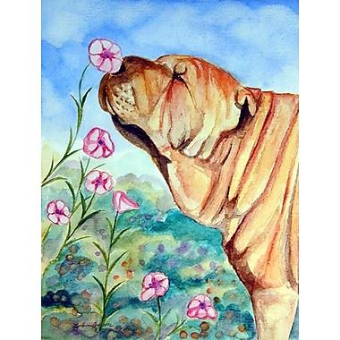 Caroline's Treasures Shar Pei smell the flowers 2-Sided Garden Flag