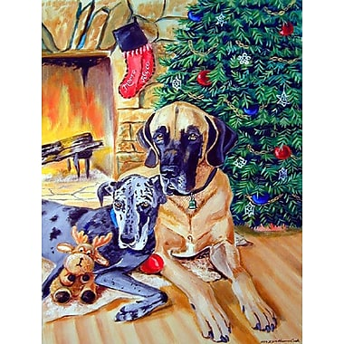 Caroline's Treasures Harlequin and Blue Great Danes Under the Christmas Tree 2-Sided Garden Flag