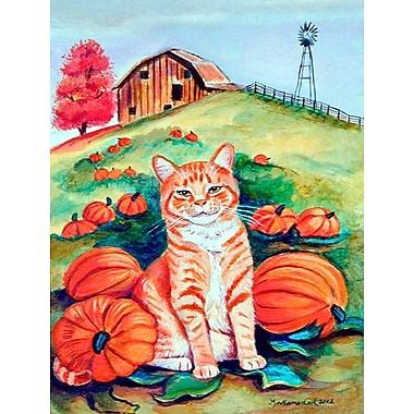 Caroline's Treasures Tabby Cat in the pumpkins 2-Sided Garden Flag
