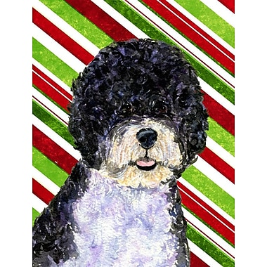 Caroline's Treasures Portuguese Water Dog Candy Cane Holiday Christmas 2-Sided Garden Flag
