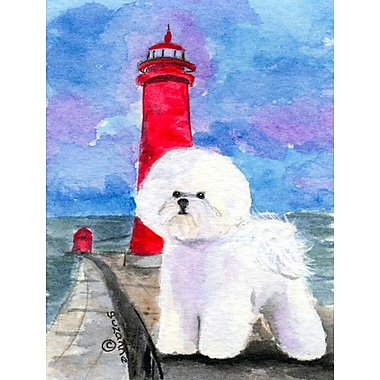 Caroline's Treasures Lighthouse w/ Bichon Frise 2-Sided Garden Flag