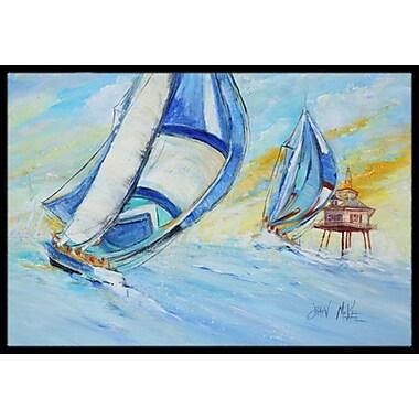 Caroline's Treasures Sailboats and Middle Bay Lighthouse Doormat; Rectangle 1'6'' x 2' 3''