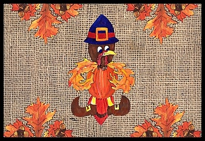 Caroline's Treasures Thanksgiving Turkey Pilgrim Fleur De Lis Doormat; Rectangle 2' x 3'