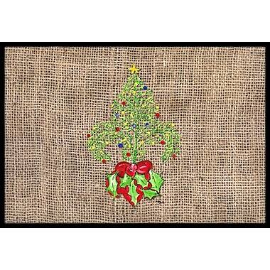Caroline's Treasures Christmas Tree Fleur De Lis Doormat; Rectangle 2' x 3'