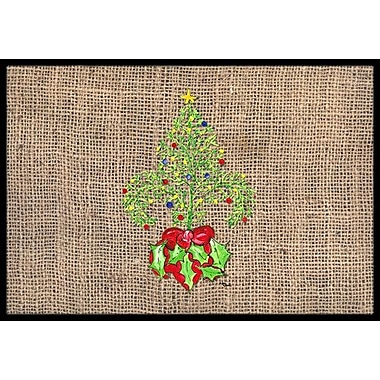 Caroline's Treasures Christmas Tree Fleur De Lis Doormat; Rectangle 1'6'' x 2' 3''