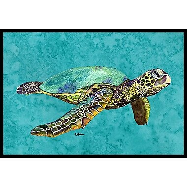Caroline's Treasures Swimming Logggerhead Turtle Doormat; Rectangle 2' x 3'