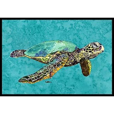 Caroline's Treasures Swimming Logggerhead Turtle Doormat; Rectangle 1'6'' x 2' 3''