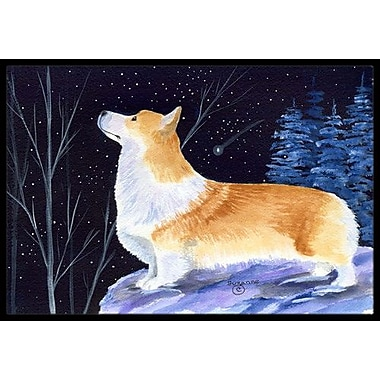 Caroline's Treasures Starry Night Corgi Doormat; Rectangle 2' x 3'