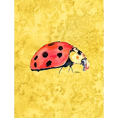 Caroline's Treasures Lady Bug on Yellow House Vertical Flag
