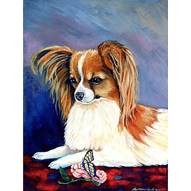 Caroline's Treasures Sable Papillon w/ a Butterfly and rose House Vertical Flag