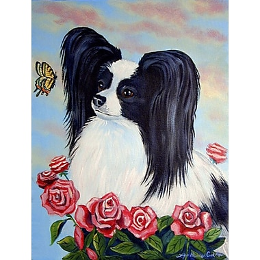 Caroline's Treasures Black and White Papillon in Roses House Vertical Flag