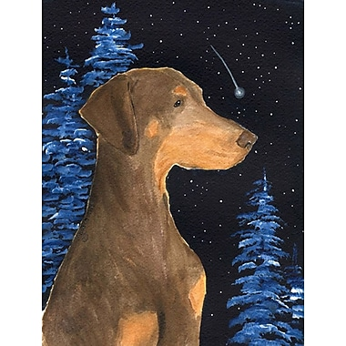 Caroline's Treasures Starry Night Doberman House Vertical Flag