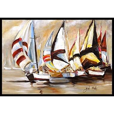 Caroline's Treasures Boat Binge Sailboats Doormat; Rectangle 1'6'' x 2' 3''