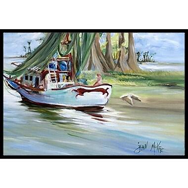 Caroline's Treasures Jeannie Shrimp Boat Doormat; Rectangle 2' x 3'