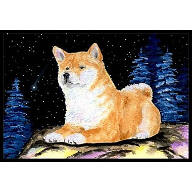Caroline's Treasures Starry Night Shiba Inu Doormat; Rectangle 2' x 3'