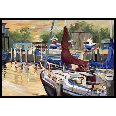 Caroline's Treasures New Sunset Bay Sailboat Doormat; Rectangle 2' x 3'
