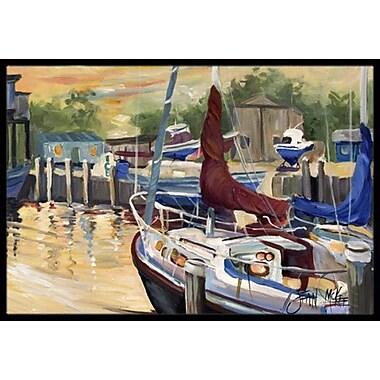 Caroline's Treasures New Sunset Bay Sailboat Doormat; Rectangle 1'6'' x 2' 3''