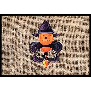 Caroline's Treasures Halloween Pumpkin Bat Fleur De Lis Doormat; Rectangle 2' x 3'