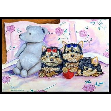 Caroline's Treasures Yorkie Puppies Three in A Row Doormat; Rectangle 2' x 3'