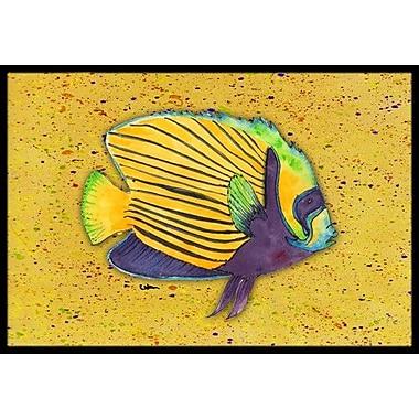 Caroline's Treasures Tropical Fish on Mustard Doormat; Rectangle 2' x 3'