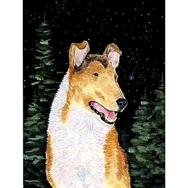 Caroline's Treasures Starry Night Collie Smooth House Vertical Flag