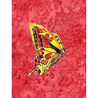 Caroline's Treasures Butterfly on Red House Vertical Flag