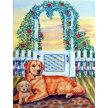 Caroline's Treasures Golden Retriever w/ Puppy at The Gate House Vertical Flag