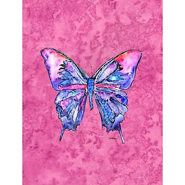 Caroline's Treasures Butterfly on Pink House Vertical Flag