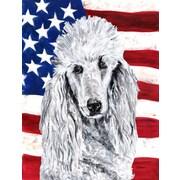 Caroline's Treasures White Standard Poodle w/ American Flag USA 2-Sided Garden Flag