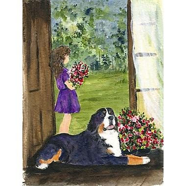 Caroline's Treasures Little Girl w/ Her Bernese Mountain Dog House Vertical Flag