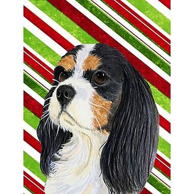 Caroline's Treasures Cavalier Spaniel Candy Cane Holiday Christmas 2-Sided Garden Flag