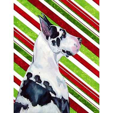 Caroline's Treasures Great Dane Candy Cane Holiday Christmas 2-Sided Garden Flag