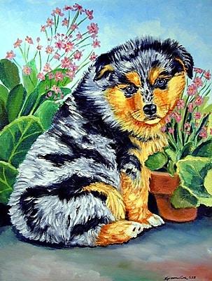 Caroline's Treasures Australian Shepherd Puppy 2-Sided Garden Flag