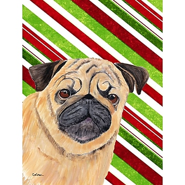 Caroline's Treasures Pug Candy Cane Holiday Christmas 2-Sided Garden Flag