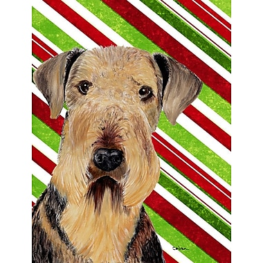 Caroline's Treasures Airedale Candy Cane Holiday Christmas 2-Sided Garden Flag