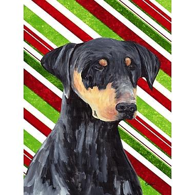 Caroline's Treasures Doberman Candy Cane Holiday Christmas 2-Sided Garden Flag