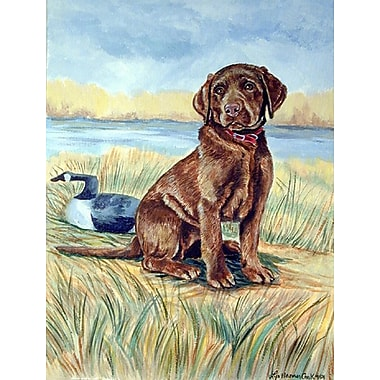 Caroline's Treasures Chocolate Labrador Puppy 2-Sided Garden Flag
