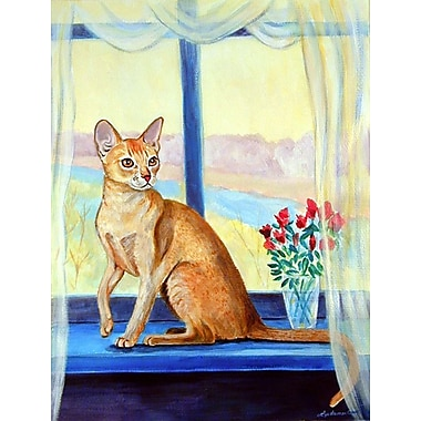 Caroline's Treasures Cat in the window 2-Sided Garden Flag