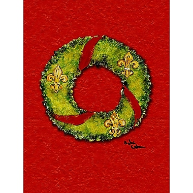 Caroline's Treasures Christmas Wreath Fleur de lis 2-Sided Garden Flag