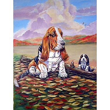 Caroline's Treasures Basset Hound Little One Watching House Vertical Flag