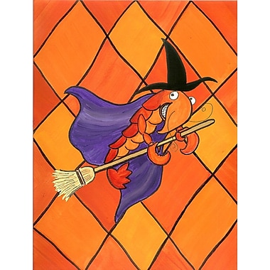 Caroline's Treasures Crawfish Witch Halloween House Vertical Flag