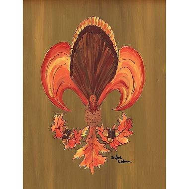 Caroline's Treasures Thanksgiving Turkey Fleur de lis House Vertical Flag