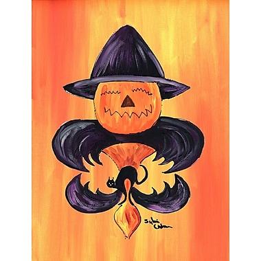 Caroline's Treasures Halloween Pumpkin Bat Fleur de lis House Vertical Flag