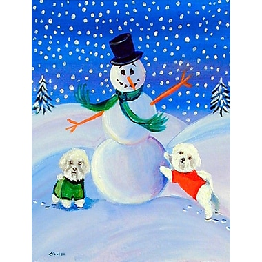 Caroline's Treasures Snowman w/ a Bichon Frise 2-Sided Garden Flag