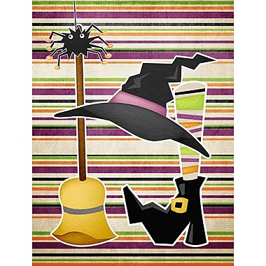 Caroline's Treasures Witch Costume and Broom on Stripes Halloween 2-Sided Garden Flag