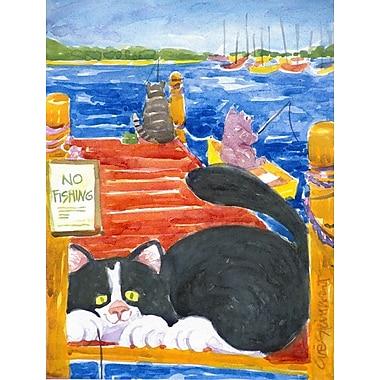 Caroline's Treasures Black and White Cat No Fishing 2-Sided Garden Flag