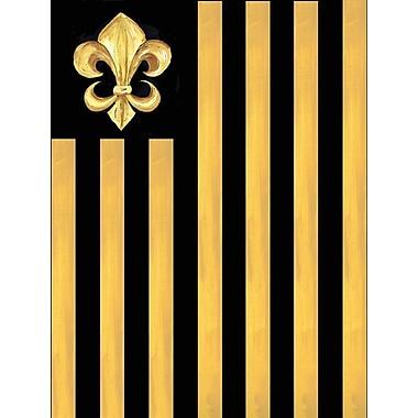 Caroline's Treasures Black and Gold Fleur de lis Nation 2-Sided Garden Flag