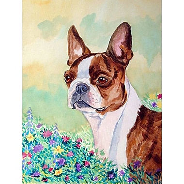 Caroline's Treasures Red and White Boston Terrier 2-Sided Garden Flag